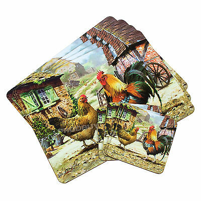 Set of 4 Placemats & Coasters Table Settings Mats Country Farm Chickens Cockerel