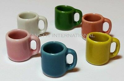 Set of 6 Dollhouse Miniature Mixed Ceramic Mugs * Doll Mini Tiny Cups Drink Food