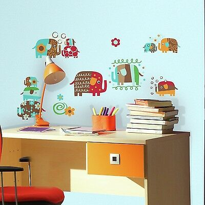 RoomMates RMK2723SCS Zutano Elephant Parade Peel and Stick Wall Decals