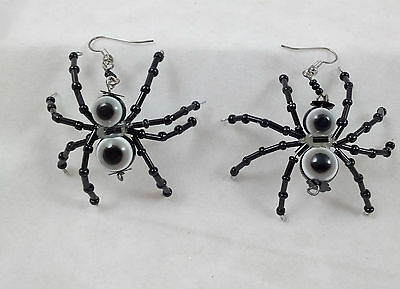 SPIDER EARRINGS Glass Beads Black Halloween Costume Accessory NEW IN PACKAGE