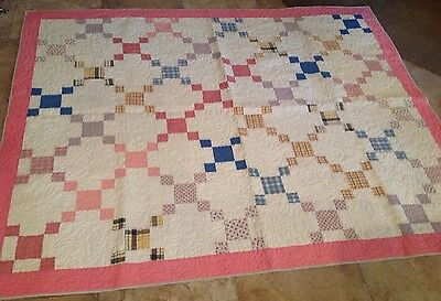 Vintage Patchwork Quilt, Nine Patch, Calicos And Solids, 1950's, Machine Quilted