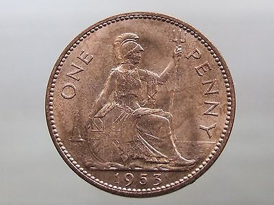 TWO x 1953 Penny - RARE Date - Stunning Brilliant Uncirculated - FREEPOST (A119)