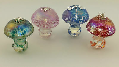 Neo Art Glass clear stem mushroom sterling silver frog,fairy,spider by K.Heaton