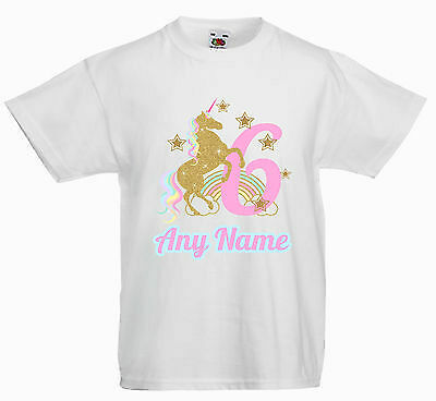 Childrens Personalised T Shirt*birthday  Golden Magical Unicorn Any Age/name