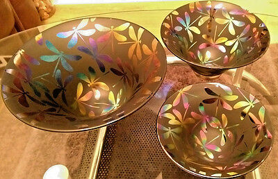 Neo Art Glass handmade unique set of three dragonfly bowls signed K.heaton