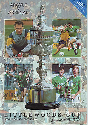 Plymouth Argyle V Arsenal Cup 3 Oct 1989 Vgc Quality Prog.