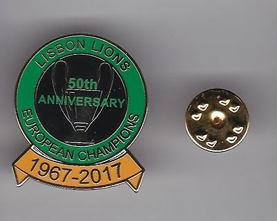 """Celtic """" Lisbon Lions - 50th Anniversary """" lapel badge butterfly fitting"""