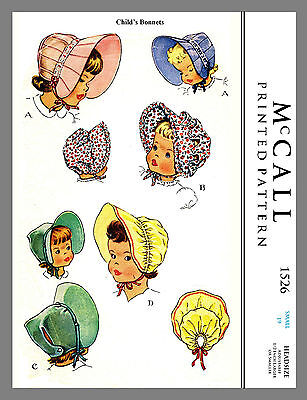 "Vintage McCall Infant  Baby BONNET Fabric Material Sewing Pattern Sz 19"" #1526"