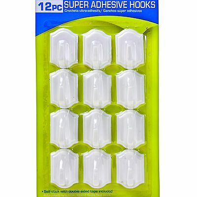 12 x Self Adhesive Super Stick White Wall Hooks Hanging Nails Double Sided Tape