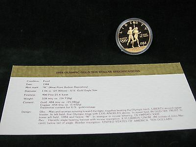 1984-W $10 Proof Gold Olympic Commemorative with Original Capsule and COA