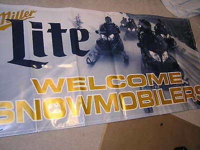 New Very Cool Miller Lite Beer Banner Pub Man Cave Welcome Snowmobile