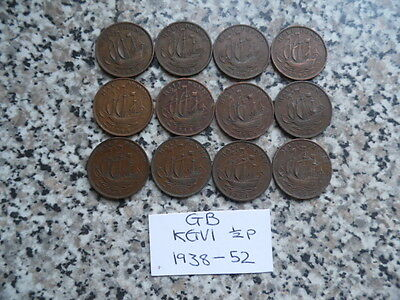 GB Coins KGVI ~ 1/2p Collection ~ 1938-52