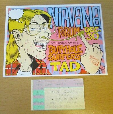 1993 Nirvana Los Angeles Concert Ticket Stub Kurt Cobain Dave Grohl In Utero