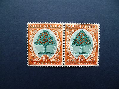 SOUTH AFRICA :- 1930 : 6d Green & Red Orange : mint pair.
