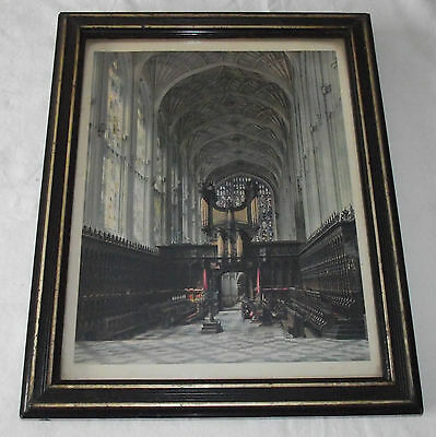 Beautiful Victorian Framed Picture Print Inside of Cathedral in Wooden Frame