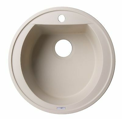 "ALFI AB2020DI-B Biscuit 20"" Drop-In Round Granite Composite Kitchen Prep Sink"