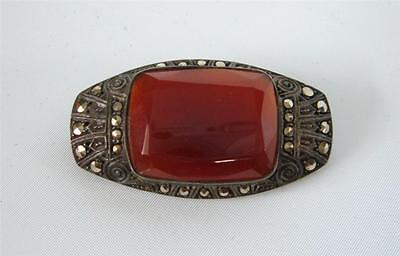 Antique Art Deco Faceted Carnelian Brooch Pin Sterling Silver Marcasite  Germany