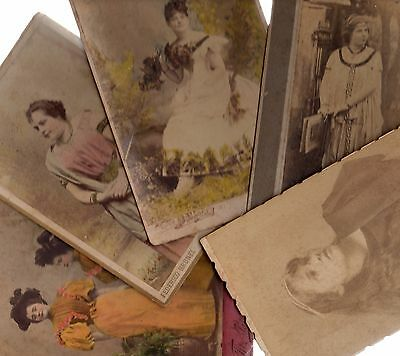collection lot of 5 portrait photo woman opera stage actress Uruguay Italy Spain