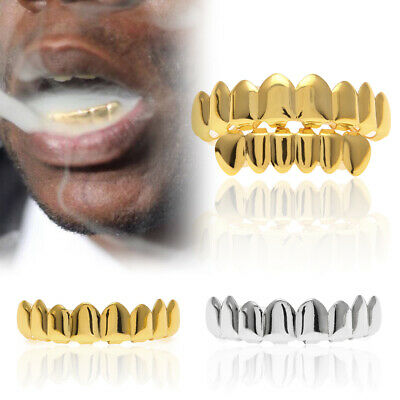 14K Gold Plated Hip Hop Teeth Grillz Top & Bottom Grill Set High Quality