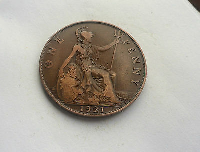 1921 Penny, George V. in Good Condition.