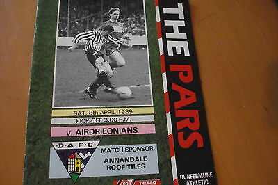 Dunfermline Athletic V Airdrieonians (Airdrie)                            8/4/89