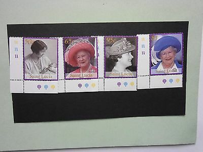 ST LUCIA: 2002 Queen Mother Commemoration 4 values MNH Sg1265/8