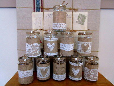 10 Vintage Glass Jars Vases Centre Pieces Shabby Chic Rustic Wedding Ivory Lace