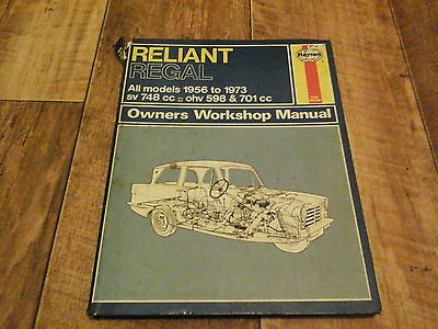 Reliant Regal Haynes Workshop Manual 1956 To 1973 All Engine Sizes