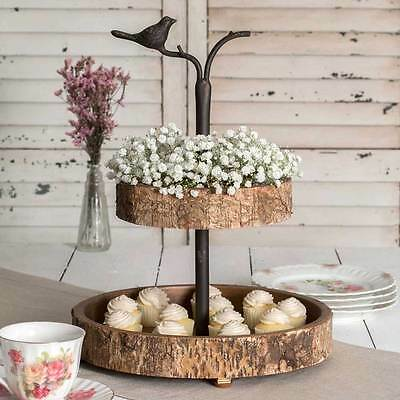 Country new Bird and Birch wood/metal 2 tier tray / nice