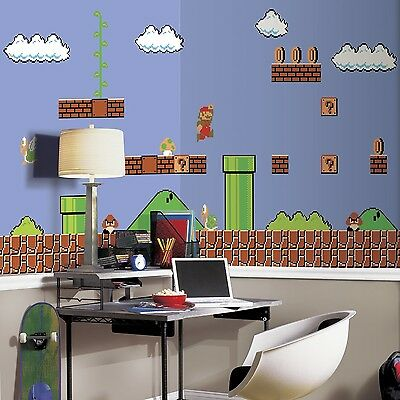 RoomMates JL1331M Super Mario Retro X-Large Chair Rail Prepasted Mural, Ultra...