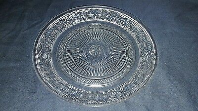 Vintage Decorative Pressed Clear Glass Plate. Unusual Intricate Pattern.