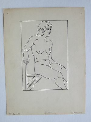 Vtg 1931 Art Deco Chicago Artist Florence Deakin Nude Woman Drawing SIGNED