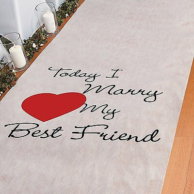 Today I Marry My Best Friend Aisle Runner Wedding Ceremony White (3' x 100)