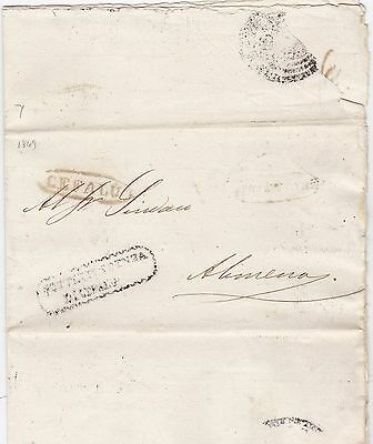 1849 Italian States Stampless Letter Cefalu Oval Pmk- Partly Printed - Italy