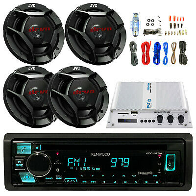 "JVC 6.5"" CSDR620 Speakers, 400W Bluetooth Amp and Kit, KDCBT31 CD USB Car Stereo"