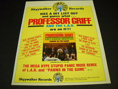 PROFESSOR GRIFF has a hit list out on Skkywalker Records 1990 Promo Poster Ad