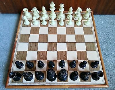 Portable Folding Chess Set, Staunton Style Chessmen Weighted & Felted, King 3.5'