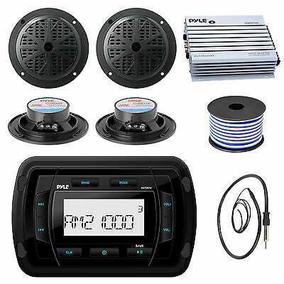 "Pyle PATVR10 Bluetooth Stereo, Antenna, 400W Amplifier, 4"" Speakers and Wiring"