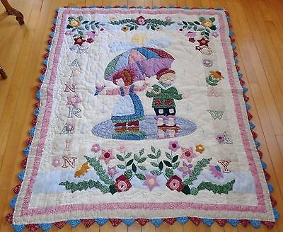 Baby Infant Toddler Crib Quilt Rain Rain Go Away 46 x 55 Applique Embroidery