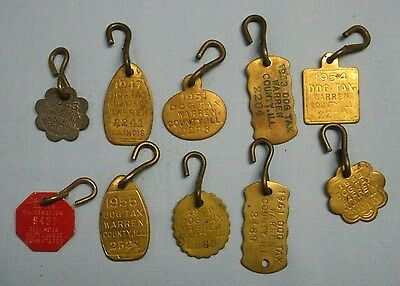 VTG . 40's . 50's & 60's .  Warren Co. Illinois Dog Tag . Lot of 10