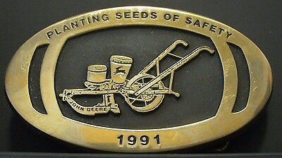 John Deere Horse Drawn One-Row Planter 1991 Employee Safety Award Belt Buckle jd