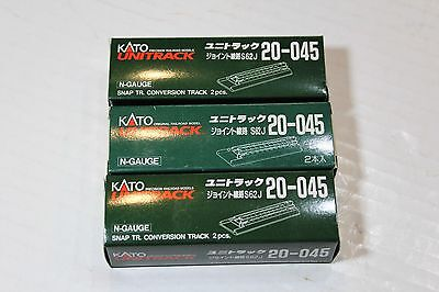 Three Packs (6 pieces) KATO 20-045 N Scale Unitrack Snap Track Conversion Tracks