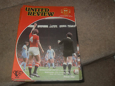 Manchester United v Coventry City 27/8/80 FL Cup 2nd rnd 1st leg