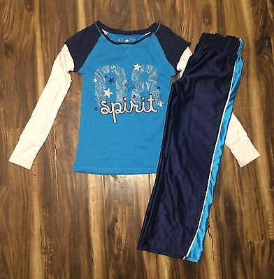 Girls Sports Athletic Outfit Blue Long Sleeve Pants S 6 M 7/8