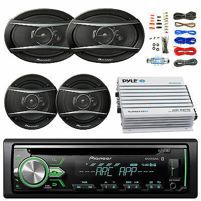 "Pioneer CD Bluetooth Stereo, Pioneer 6.5"" and 6x9"" 3-Way Speakers, Amp and Kit"