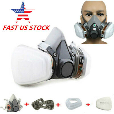 Half Face Gas Mask Set Spray Painting Respirator +Cartridges+Filters For 3M 6200