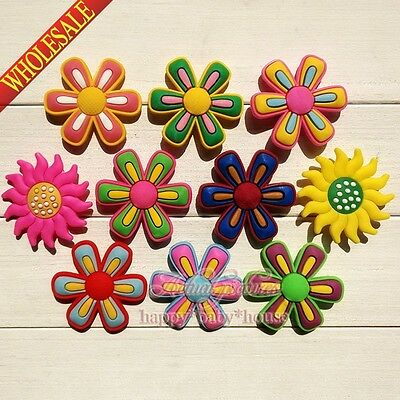 Hot 50PCS Big Flowers PVC shoe Accessories,shoe charms for Bracelets JIBZ Gifts