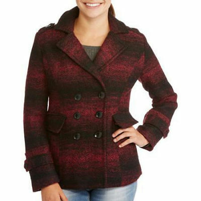 IB Diffusion Women's Faux Wool Blend Peacoat Jacket Coat Double Breasted XL