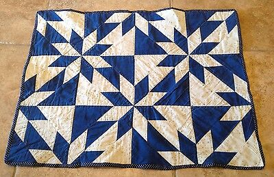 Vintage Small Patchwork Quilt, Star Pattern, Dark Blue Solid, Ivory, 1940-50 Era