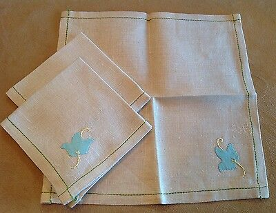 Three Small Linen Napkins, Beige With Light Green Appliqué Flowers, Embroidery